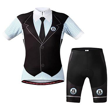 WOLFBIKE Wielrenshirt met shorts Unisex Korte Mouw Fietsen Mouwen Shirt Short/Broekje Pakken Rits Aan De Voorzijde Ademend Achterzak