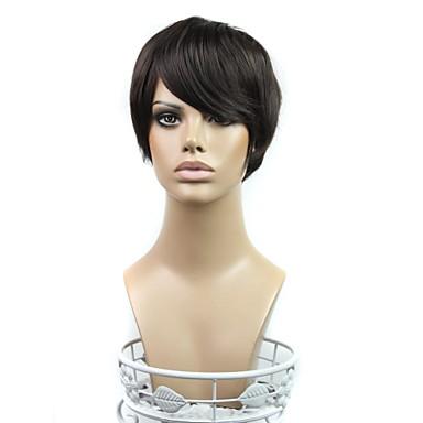 Synthetische Perücken Glatt Synthetische Haare 8 Zoll Schwarz Perücke Damen Kappenlos