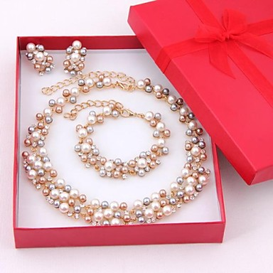 cheap Hot Pearl Jewelry Sale-Women's Multicolor Pearl Jewelry Set Pearl, Rhinestone, Gold Plated Ladies, Elegant, Bridal Include Drop Earrings Bead Bracelet Pearl Necklace Golden For Wedding Party Special Occasion Anniversary
