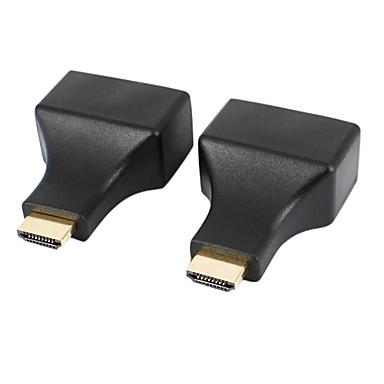 hdmi naar cat-5e / 6 hd 3d signaal extensie adapters RJ45 - zwart (2 stuks)