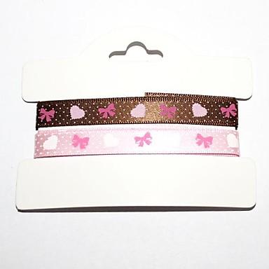 3/8 Inch Bowknot Pattern Rib Ribbon Printing Ribbon- 1 Yards Per Roll (Two Color One Card)