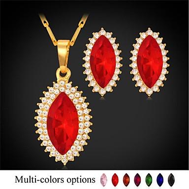 Jewelry Set Imitation Diamond Rhinestone Gold Plated Simulated Diamond Red Green Blue Pink Champagne Hoop Earrings Jewelry setWedding