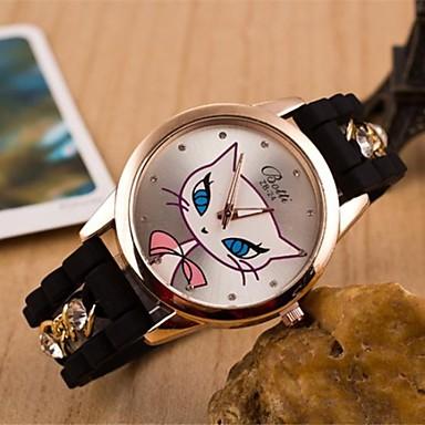 Dames Modieus horloge Vrijetijdshorloge Kwarts Silicone Band Cartoon Zwart Wit Blauw Rood roze