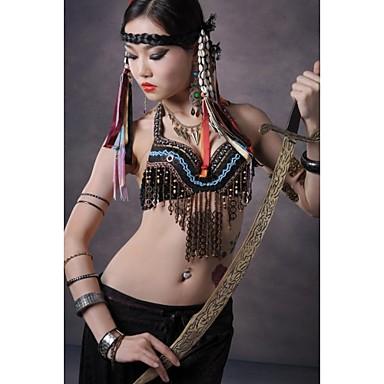 Χορός της κοιλιάς Μπλούζες Γυναικεία Επίδοση Βαμβάκι Μέταλλο Κουμπί Χάλκινα κέρματα