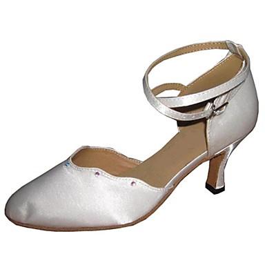 Modern özelleştirilebilir kadın sandalet yapay elmas dans ayakkabıları ile saten