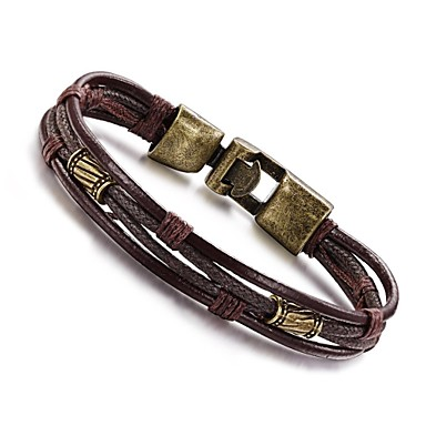 cheap Men's Bracelets-Men's Rope Wrap Twisted Wrap Bracelet Leather Bracelet Leather Titanium Steel Personalized Vintage Hip-Hop Bracelet Jewelry Silver / Bronze For Daily Casual Sports