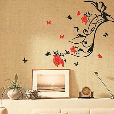 muurstickers muur stickers, bloem wijnstok en vlinders pvc muurstickers