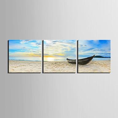 E-home® tuval 3 kıyı dekorasyon boyama seti demirledi gemi sanat gergin