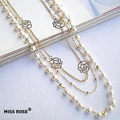 billige Mote Halskjede-Dame Strands halskjede Lang Halskjede Perlehalskjede Origami Rosary Chain Lotus damer Mote Perle Legering Perle Hvit Halskjeder Smykker Til Fest Daglig Avslappet