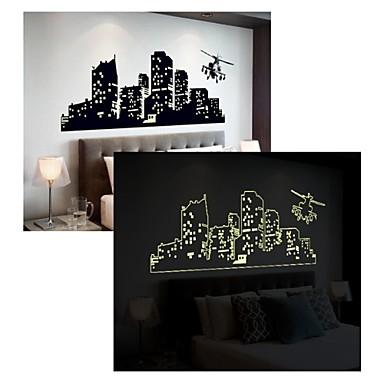 Formen Weihnachten Architektur Cartoon Design Wand-Sticker Leuchtende Wand Sticker Dekorative Wand Sticker, PVC Haus Dekoration Wandtattoo
