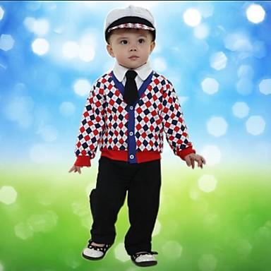 ieftine Seturi Îmbrăcăminte Băieți-Copil Băieți Carouri Manșon Lung Regular Regular Set Îmbrăcăminte Rosu