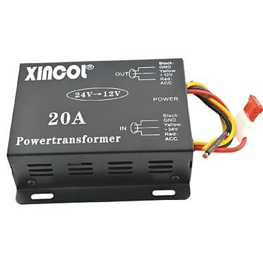 xincol® Fahrzeug Auto DC 24V bis 12V 20a Netztransformator Konverter-schwarz