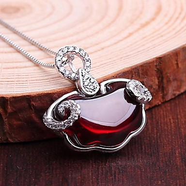 cheap Necklaces-Women's Pendant Necklace Synthetic Gemstones Sterling Silver Silver Necklace Jewelry For Wedding Daily Casual