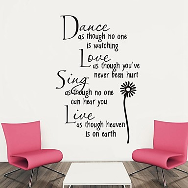 Words & Quotes Wall Stickers Plane Wall Stickers Decorative Wall Stickers Material Removable Home Decoration Wall Decal