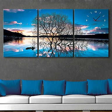 E-HOME® The Reflection of The Trees Clock in Canvas 3pcs