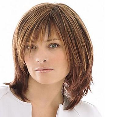 人工毛ウィッグ 女性用 ストレート ブラウン バング付き 合成 高品質 ブラウン かつら ミディアム キャップレス ライトブラウン
