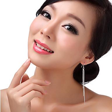 Damen Sterling Silber Tropfen-Ohrringe - Quaste Erklärung Farbbildschirm Ohrringe Für
