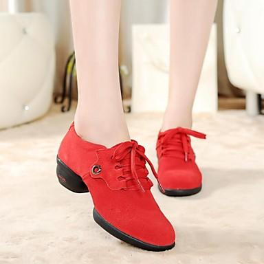 Women's Dance Sneakers Leather Split Sole Low Heel Black Red Green 1