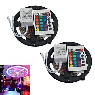 jiawen® 2adet 5m 300x3528 smd rgb 24key uzaktan kumanda ile led ışık şeridi (DC12V)
