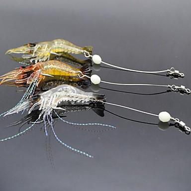 3 stk Zacht Aas Kunstaas Garnaal Zacht Aas Zacht Plastic Lichtgevend Zeevissen Zoetwater Vissen Vissen Met Aas