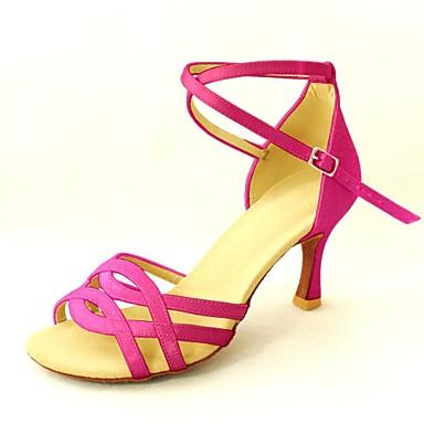 Women's Latin Shoes / Buckle Salsa Shoes Satin Sandal Buckle / Customized Heel Customizable Dance Shoes Yellow / Fuchsia / Purple c73dda