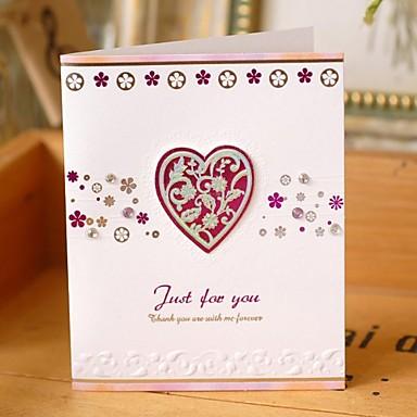 Πλευρική Πτυχή Προσκλητηρια Γαμου Ευχαριστήριες Κάρτες Άνθινο Στυλ Χάρτινη Κάρτα Τεχνητό διαμάντι