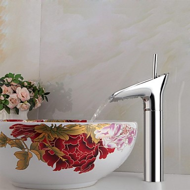 Contemporary Vessel Ceramic Valve One Hole Single Handle One Hole Chrome, Bathroom Sink Faucet