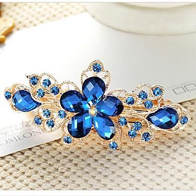 رخيصةأون مجوهرات الشعر-أخضر أزرق زهري أغطية الرأس كباس للشعر نسائي سيدات-وردة / حجر الراين / سبيكة