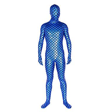 Shiny Zentai Anzüge Ninja Zentai Kostüme Cosplay Kostüme Blau Solide Gymnastikanzug / Einteiler / Zentai Kostüme Glänzend Metallisch Herrn / Damen Halloween / Hochelastisch
