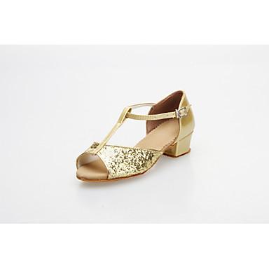 Damen Kinder Latin Ballsaal Glitzer Sandalen Verschlussschnalle Niedriger Heel Silber Gold 1