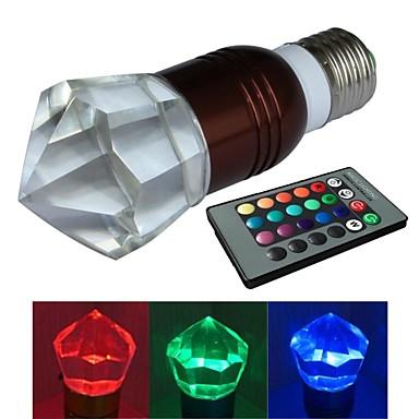 jiawen® E27 3W RGB 16 színű kristály LED izzó távirányítóval (ac 100-220v)