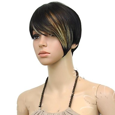 Synthetic Wig Straight Multi-color Women's Capless Black Wig Synthetic Hair Daily
