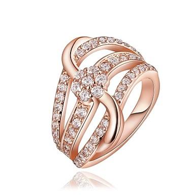 Ringen voor stelletjes Kristal Strass Verguld 18K goud Gesimuleerde diamant Legering Geometrische vorm Roos Gouden Sieraden VoorBruiloft