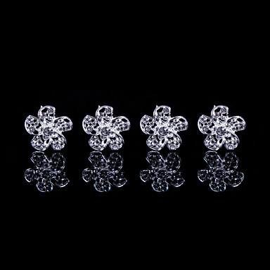 Petal Alloy Hairpins With Rhinestone Wedding/Party Headpiece(Set of 4)