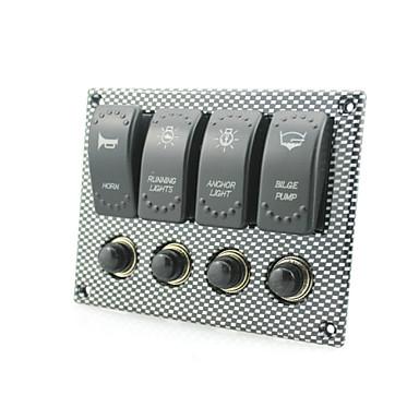 Waterproof Marine Boat Rocker Switch Panel 4 Gang Water Transfer LED Light Indicator Breaker