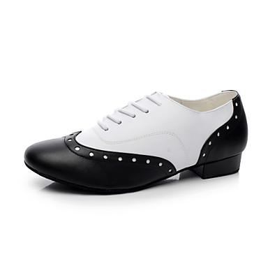 baratos Shall We® Sapatos de Dança-Homens Couro Sapatos de Swing Salto Sem Salto Não Personalizável Preto e Branco