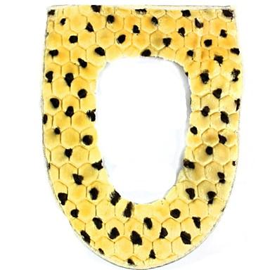 Lüks leopar tarzı sıcak tutmak pamuk + peluş tuvalet pedi mat yastık - sarı + kahverengi