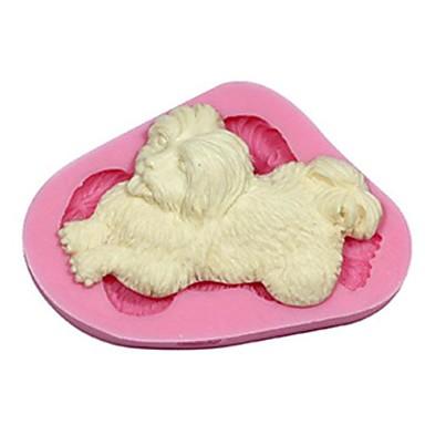 3d longue fourrure Fondant chien moule décoration de gâteau sm-415