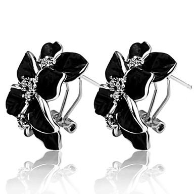 Femme Argent Boucles d'oreille goujon Boucles d'oreille goutte - Noir Forme de Cercle Forme Géométrique Des boucles d'oreilles Pour