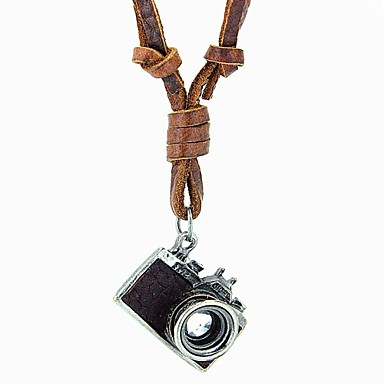Long Statement Necklace / Lockets Necklace / Vintage Necklace - Leather Camera Vintage, European, Simple Style Black, Brown Necklace For Party, Daily, Casual / Pendant / Pendant