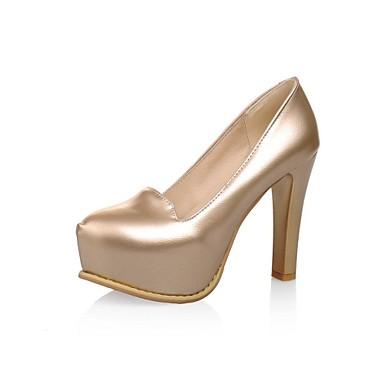 Γυναικείο Παπούτσια Δερματίνη Άνοιξη Καλοκαίρι Φθινόπωρο Χοντρό Τακούνι Με Για Φόρεμα Μαύρο Λευκό Ασημί Χρυσό