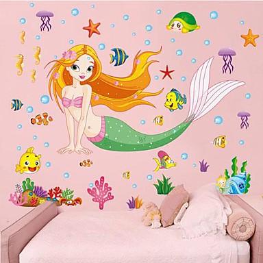 αφαιρούμενη όμορφη θάλασσα-υπηρέτρια σχήμα αυτοκόλλητο τοίχου παιδικό δωμάτιο