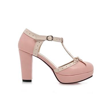 Черный / Синий / Розовый / Фиолетовый - Женская обувь - Для праздника - Дерматин - На толстом каблуке -На каблуках / С круглым носком / С