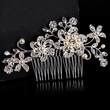 Material Sterling Silver Alloy Hair Combs Flowers Headpiece with Beading Wedding Party Special Occasion Headpiece