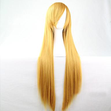Damen Synthetische Perücken Lang Gerade Gelb Kostümperücke