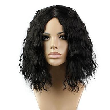 Syntetiske parykker Dame Krøllet / Kinky Curly Svart Midtdel Syntetisk hår 12 tommers Naturlig hårlinje Svart Parykk Kort / Medium Lengde Lokkløs Naturlig Svart