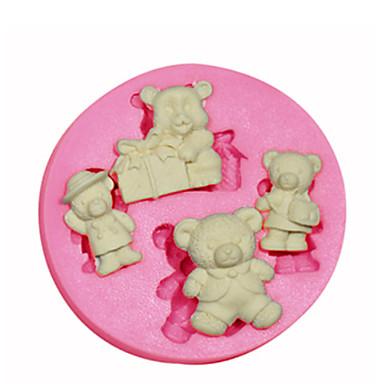 forme de dessin animé ours en peluche moule moule en silicone décoration de gâteaux en silicone pour fondantes artisanat de bonbons bijoux