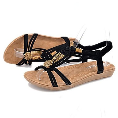 Sandały - KOBIETY - Mary Jane - Sztuczna skóra - Flat Heel Czarny/Beżowy )