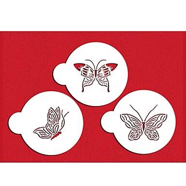 FOUR-C Plastic Stencil Set Top Decorating for Cup Cake Color White,3PCS/Set ST-569