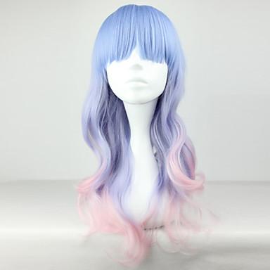 Συνθετικές Περούκες Σγουρά Κούρεμα με φιλάρισμα Συνθετικά μαλλιά Φυσική γραμμή των μαλλιών Μπλε Περούκα Γυναικεία Μακρύ Περούκα άνιμε